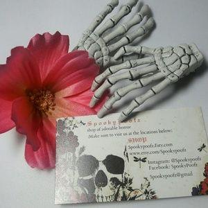 Skeleton hand barrettes